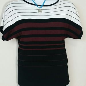 Cato top short sleeve knit white burgundy black